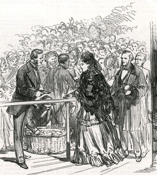 Distribution of wedding cake in Edinburgh after the marriage of Prince Alfred, Duke of Edinburgh (second son of Queen Victoria) to Grand Duchess Marie Alexandrovna of Russia in January 1874. Date: 1874