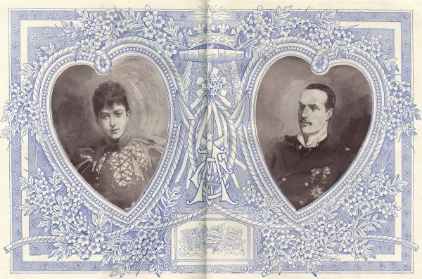 Heart shaped portraits of Princess Maud of Wales (1869-1938), youngest daughter of Edward VII and Queen Alexandra, and Prince Charles (or Carl) of Denmark, later King Haakon VII, King of Norway, at the time of their marriage in 1896 -- the wedding