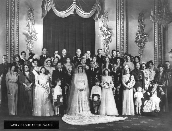 Group photograph following the wedding of Princess Elizabeth to Lieutenant Philip Mountbatten on 20 November 1947.  1947