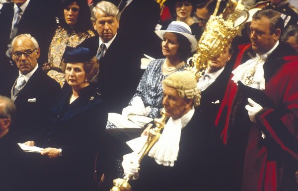 Prime Minister Margaret Thatcher Together With Her Husband Denis Among The Guests At