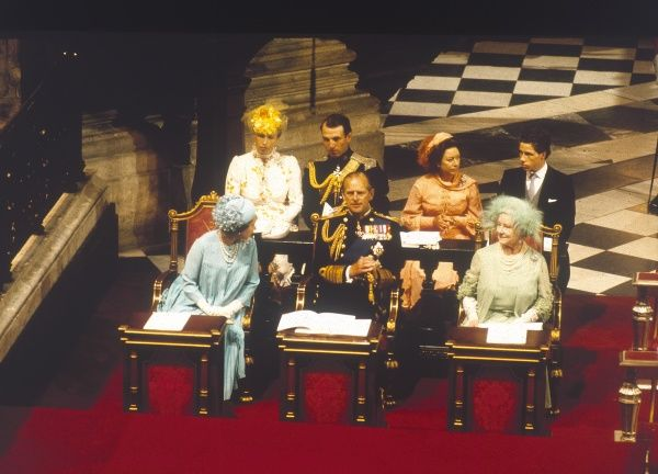 The Royal family seated in St. Paul's Cathedral during the wedding of Prince Charles to Lady Diana Spencer on July 29th 1981. In the front row from left is Queen Elizabeth II, Prince Philip, Duke of Edinburgh and Queen Elizabeth the Queen Mother