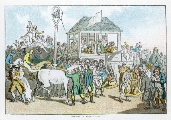 Weighing the jockeys and rubbing down the horses before a race