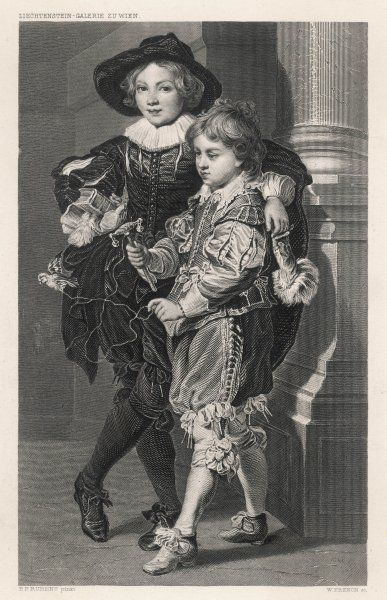 Two of Rubens' sons dressed in wonderfully elegant clothes, suitable for reading or playing with a rattle but not for more typical boys' activities
