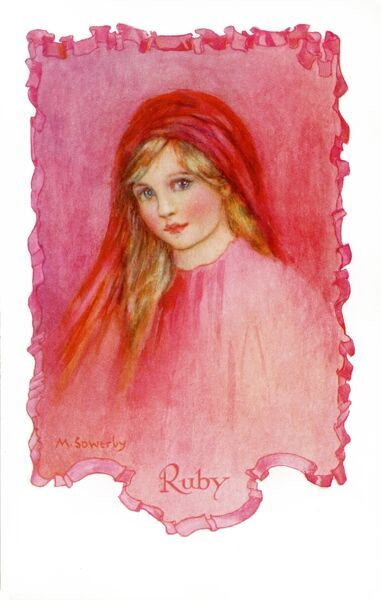 Ruby by Millicent Sowerby. From the Little Jewels series of postcards illustrated by Amy Millicent Sowerby (1878-1967). Date: circa 1916