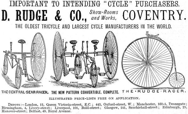 Advertisement for cycles and tricycles by D. Rudge & Co