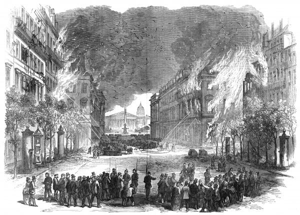 Fires are started in parts of Paris, often by 'petroleuses' - women carrying cans of fuel. Firemen fight fires in the fashionable rue Royale, seen as symbolic of the old regime. Date: April- May 1871