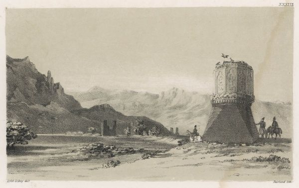'View of the Gumhed i Dokhter or Damsel's Tower, on the banks of the Araxes [now Araks) near the ruins of Julfa in Armenia&#39