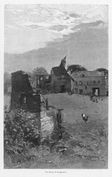 The ruins of Hougomont after the Battle of Waterloo