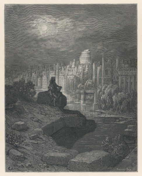 A traveller from New Zealand, in days to come, contemplates the ruins of London, that once great city