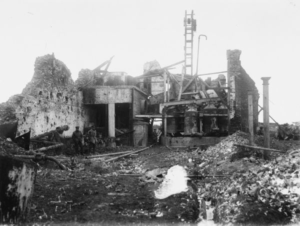 A ruined sugar factory in Serre near Ancre on the British Front in France during World War I in 1917