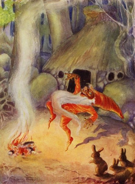 Rumplestiltskin by Lilian Govey. 'Round about the fire danced a funny little man upon one leg'. A fairy tale by the Brothers Grimm Date: 1912