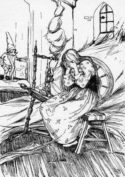Rumplestiltskin by Lilian Govey. The maiden distraught, unable to spin gold from straw. A fairy tale by the Brothers Grimm Date: 1912