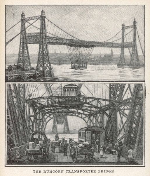 "This bridge connected Runcorn and Widnes across the river Mersey. It opened 29 May 1905, replacing the previous ferry. Known locally as ""The Car"" after its suspension bridge"