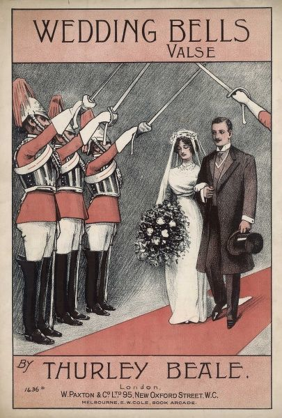 Smartly uniformed guardsmen salute a newly-married couple with symbolically raised swords
