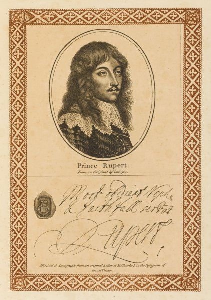 Prince RUPERT OF THE RHINE Royalist commander in the English Civil War with his autograph