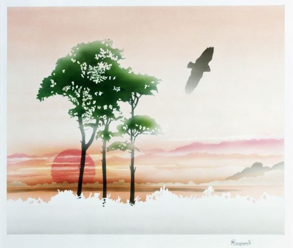 A colourful rural scene with three trees, a bird flying across, and a large red sunset