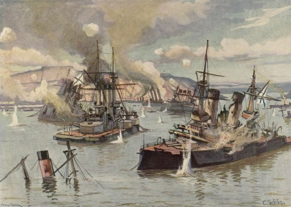 The Russian fleet is destroyed in the harbour of Port Arthur