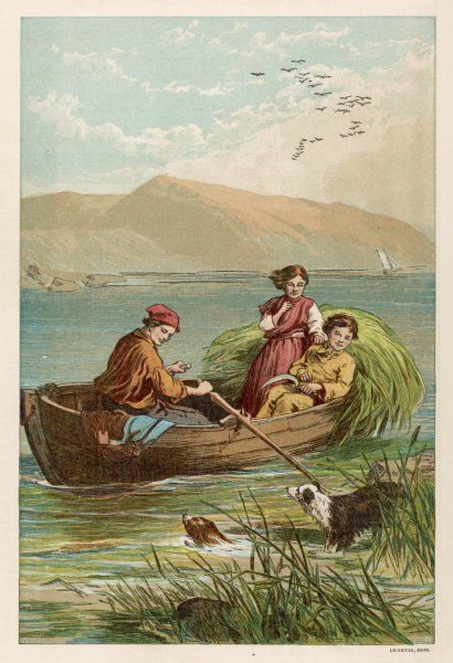Three children set out rush gathering in a small rowing boat. A boy holds a sickle in his hand. The rushes are used for rush seats for chairs & for baskets etc