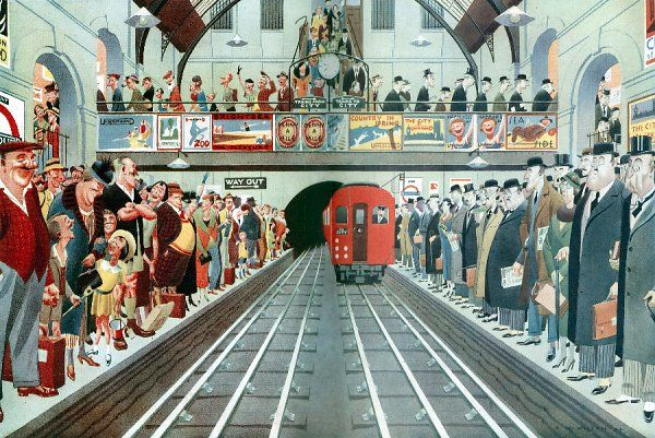 A busy London underground station contasting two platforms, one side has happy holiday makers and the other sober looking business men