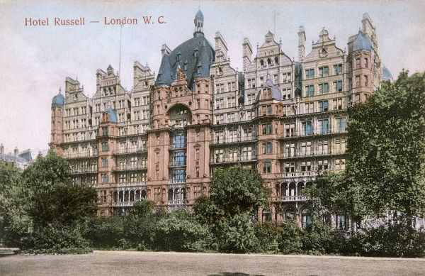 Russell Square, Bloomsbury, and the Hotel Russell Date: circa 1900