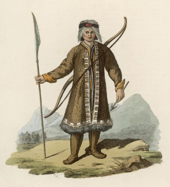 Warrior of the Sakha people (formerly known as Yakhuts) armed with pike and bow-and- arrow