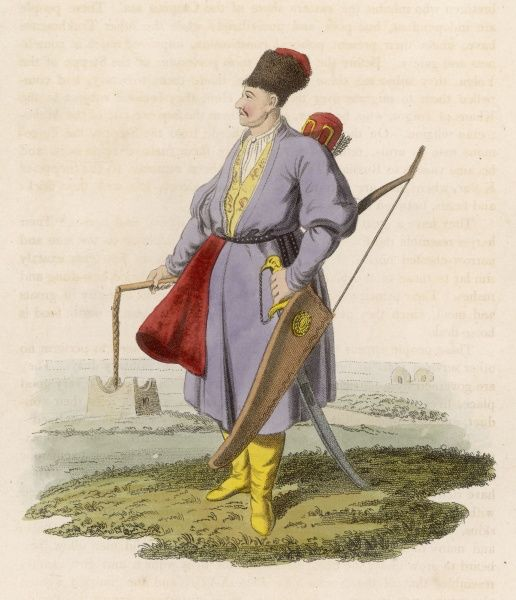 Turkmen warrior with bow and knout