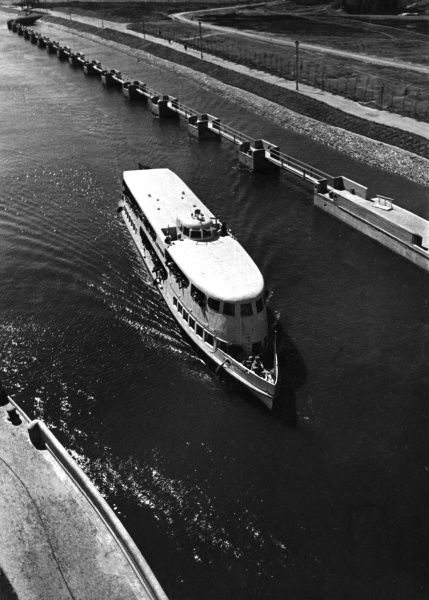 A pleasure cruiser on the Moscow - Volga Canal, Russia. Date: 1930s