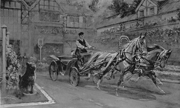 Illustration showing a demonstration of Russian carriage driving at the Olympia Horse Show, London, 1911. This image shows the horse between the shafts (on left) trotting, while it's partner gallops
