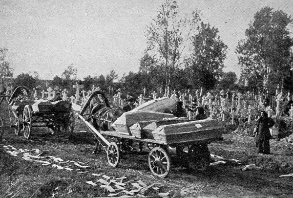 Transporting those who have died of cholera to the burial ground. Cholera broke out in St Petersburg in September 1908, with the first cases among people living in particularly unsanitary conditions
