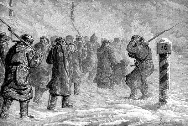 Engraving showing a group of Russian criminals being marched through a snowstorm, Siberia, 1882. They are accompanied on this march by a number of Russian soldiers. Date: 1882