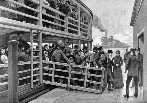 Engraving showing Russian emigrants, young and old, arriving by tender at the Barge Office, New York, 1892. As an elderly immigrant is helped ashore, customs officals wait to inspect the new arrivals