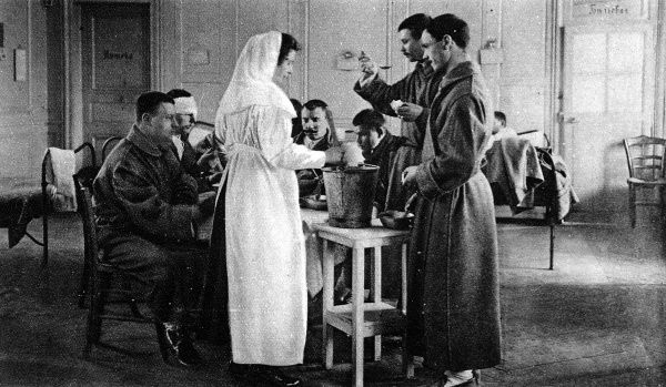 The Russians specialised in Red Cross work, developing field hospital organisations since the Manchurian War. Pictured is a hospital staffed entirely by Russians in France