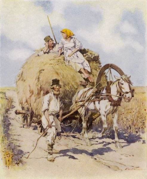 Russian peasants bring in the harvest on a horse cart