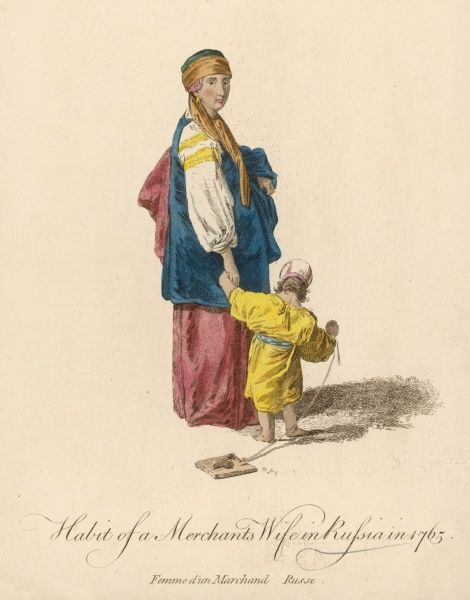 A Russian merchant's wife with her child