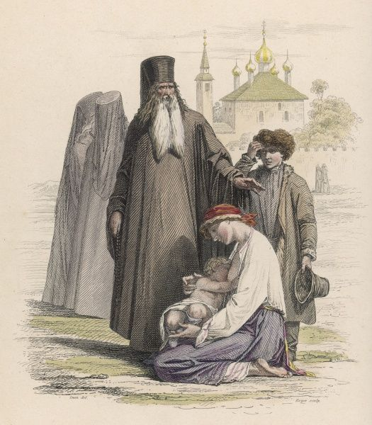 A Russian priest with some of his flock