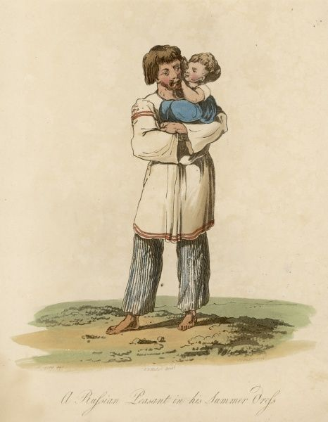 A peasant in his summer dress, with a child