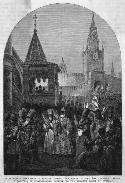 A religious procession in Moscow, during the reign of Ivan the Terrible