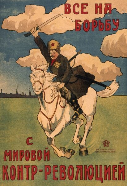 A Russian Propaganda Poster from the early Bolshevik era, depicting a red army cavalry soldier charging into battle on a fine white steed, sword raised in agressive pose