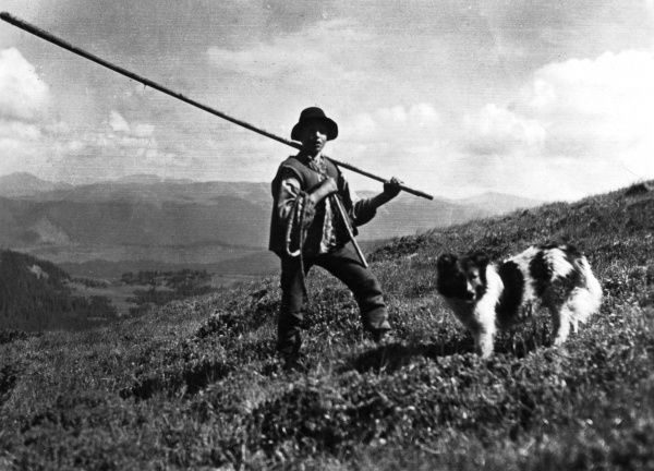 A Carpathian Russian (or Ruthen) shepherd, an old sheep farming race, who were originally enslaved. They inhabit the almost impassible Carpathian mountains. Date: 1930s
