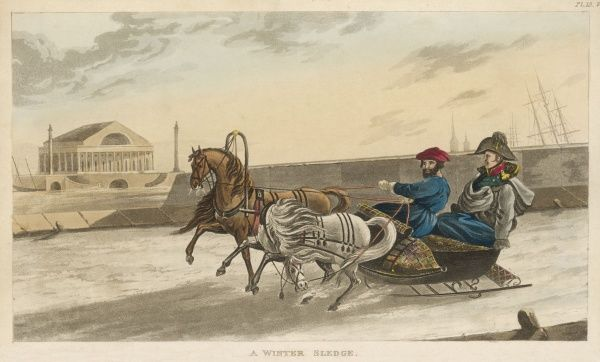 Driving a two-horse sleigh beside the river Neva at Saint Petersburg