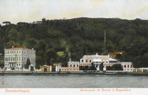 The Russian Summer Embassy at Buyukdere, Constantinople, Turkey on the Bosphorus beyond Tarabya