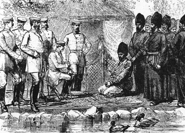 A meeting between a Russian general and the Khan of Khiva to discuss peace terms. Khiva is in modern Uzbekistan. Date: 1873