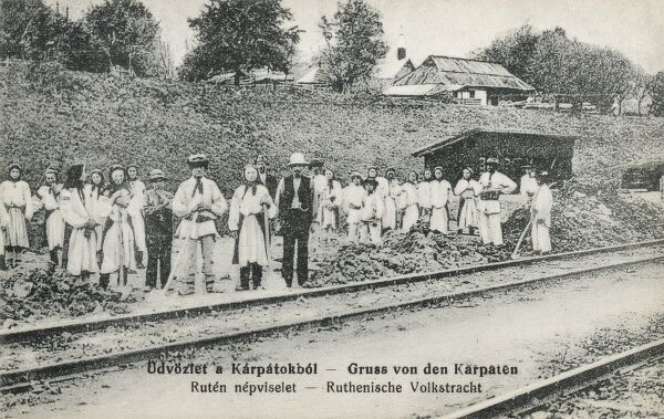 Rusyns - an Eastern Slavic ethnic group who speak an Eastern Slavic language (or dialect) known as Rusyn. This appears to be a team working on a railway in the Carpathian Mountain region of Hungary