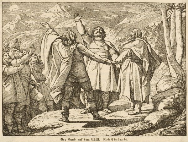 The Oath of Rutli (or Grutli) is taken by Swiss leaders in a meadow ; its guarantee of Swiss independence is the (legendary) foundation of Swiss policy ever since