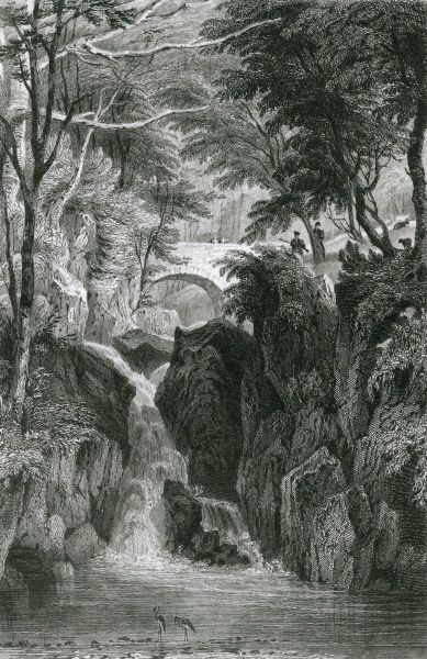 The Lower Fall of Rydal Falls, Cumbria Date: 1833