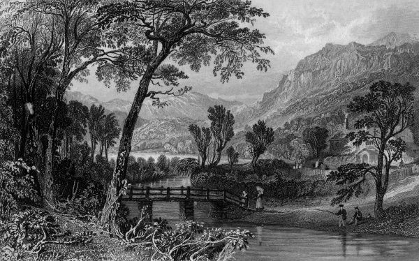 Anglers fish a stream while countryfolk cross it on a primitive bridge, near Rydal Water, Cumbria Date: circa 1830