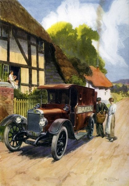 A baker's van stops at a quaint looking village with the morning's delivery of fresh bread