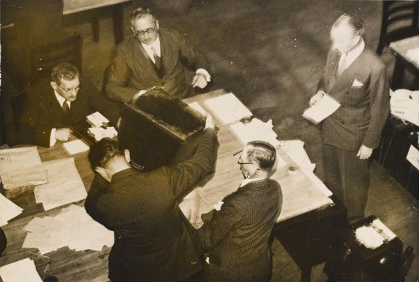 Counting the votes from Warthburg in Saarbrucken during the Saarland Plebiscite in 1935. 90% of Saar people voted for the Saarland to rejoin Germany