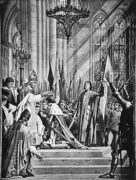 SACRE DE CHARLES VII Charles VII is anointed King of France at Reims, in the prescence of Jeanne D'Arc. Date: 17 July 1429
