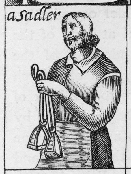 A saddler holding a pair of stirrups. 'These tradesman are preachers in the City of London, 1647.' A satirical broadside on non